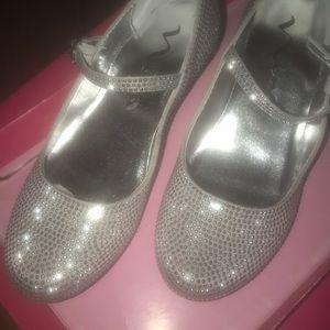 Silver formal /casual rhinestone Mary Jane